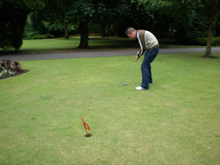Mini Golf grass putting at the Spa Gardens in Ripon, North Yorkshire