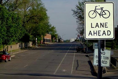 Bike lane in downtown Kansas City