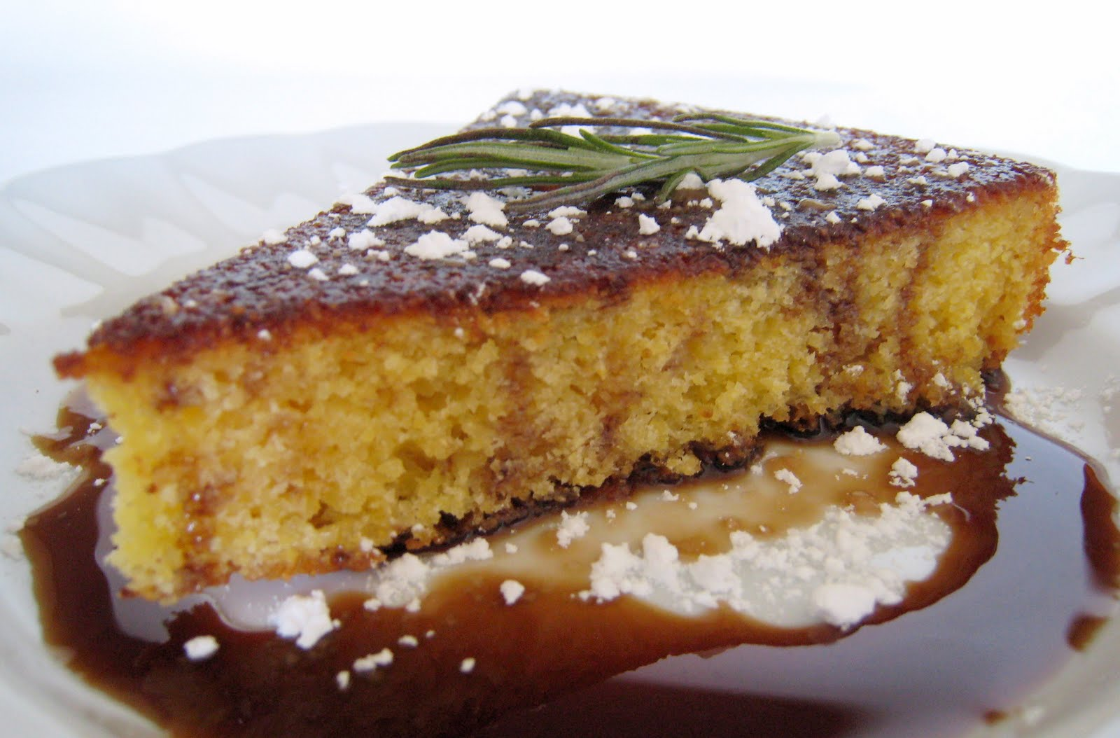 cornmeal rosemary cake with balsamic syrup