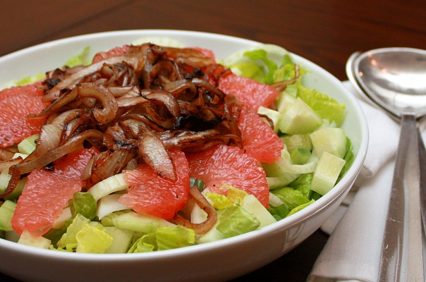 caramelized onion grapefruit salad