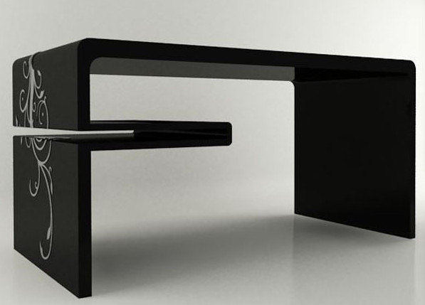This Sleek Desk In Two Versions White And Black With A Swirl Pattern On One Side Simple Clean Lines Make Perfect For Modern Office Or