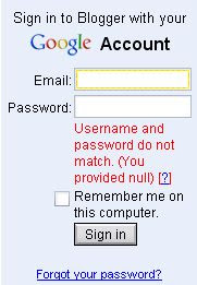 Google Blogger forgot password
