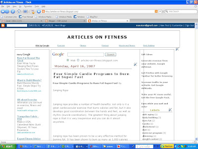 Articles on Fitness blog as displayed in Flock browser