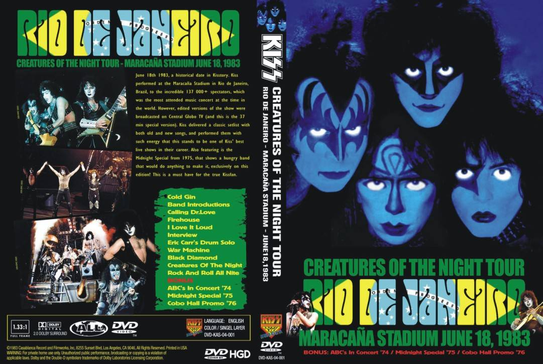 BANCA DO ROCK Rock Concert DVD: 998 - DVD KISS 1983 - BOOTLEG