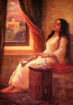In Contemplation by Raja Ravi Varma