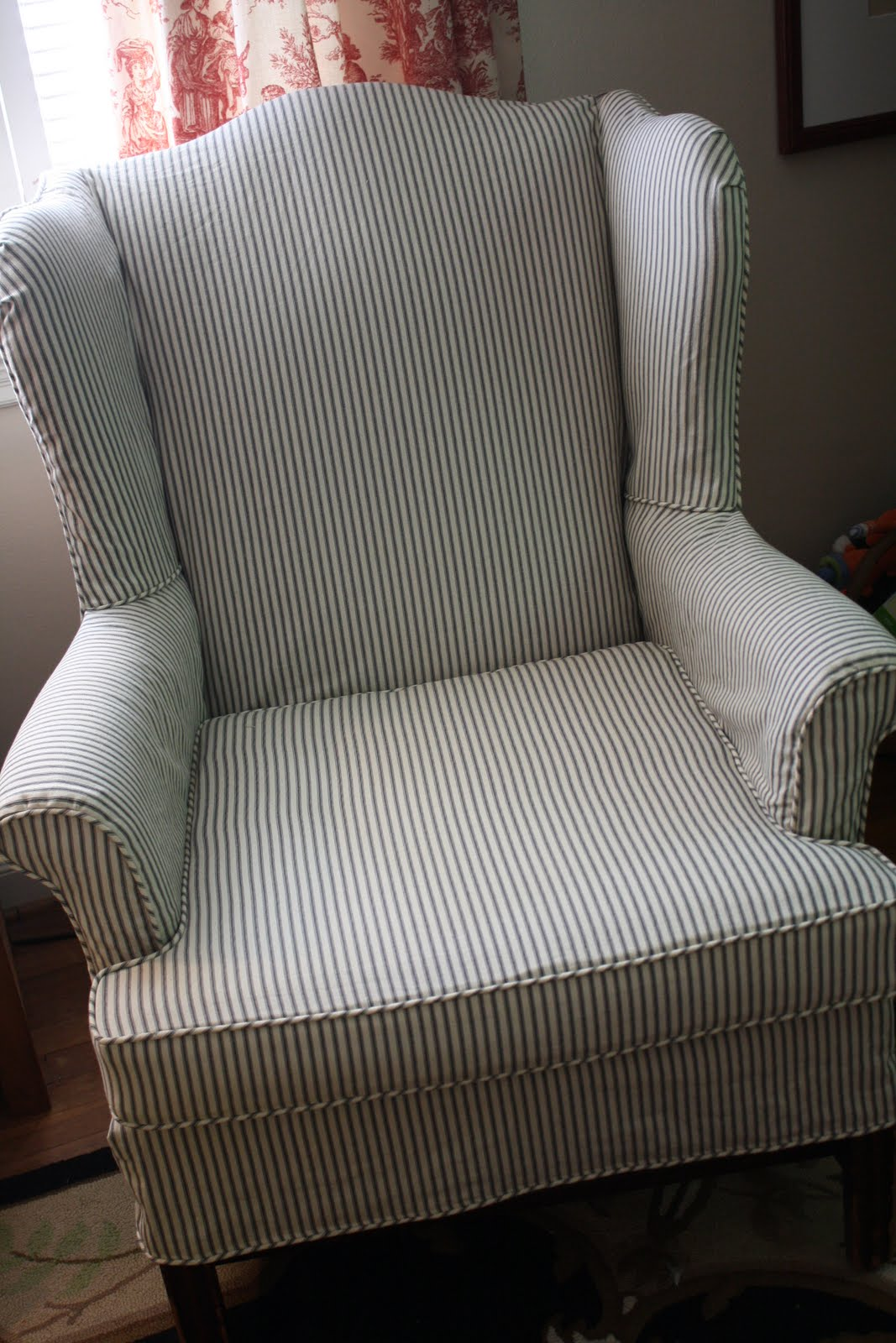 Striped Wingback Chair Sure Fit Recliner Covers Australia Make