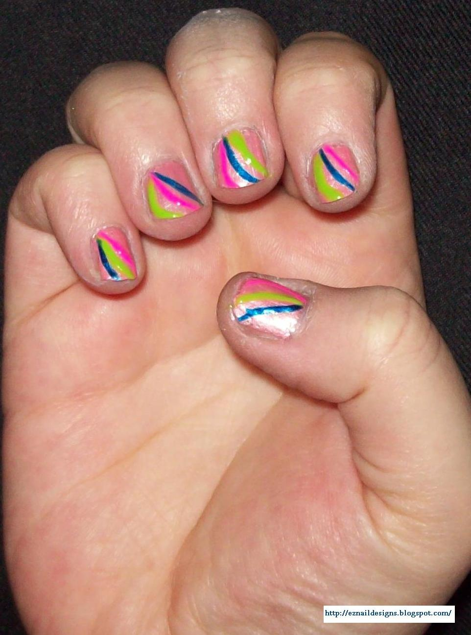 EZ Nail Designs: Colorful Stripes Nail Design