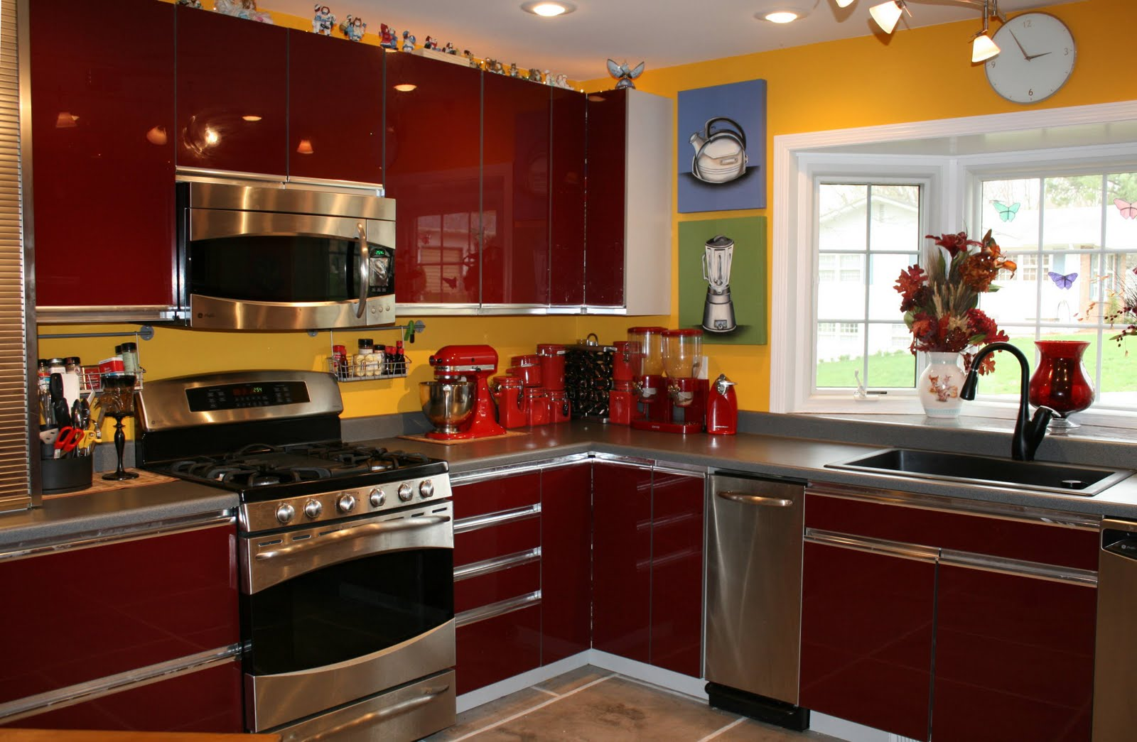 Red Kitchen Cabinets with Yellow Walls