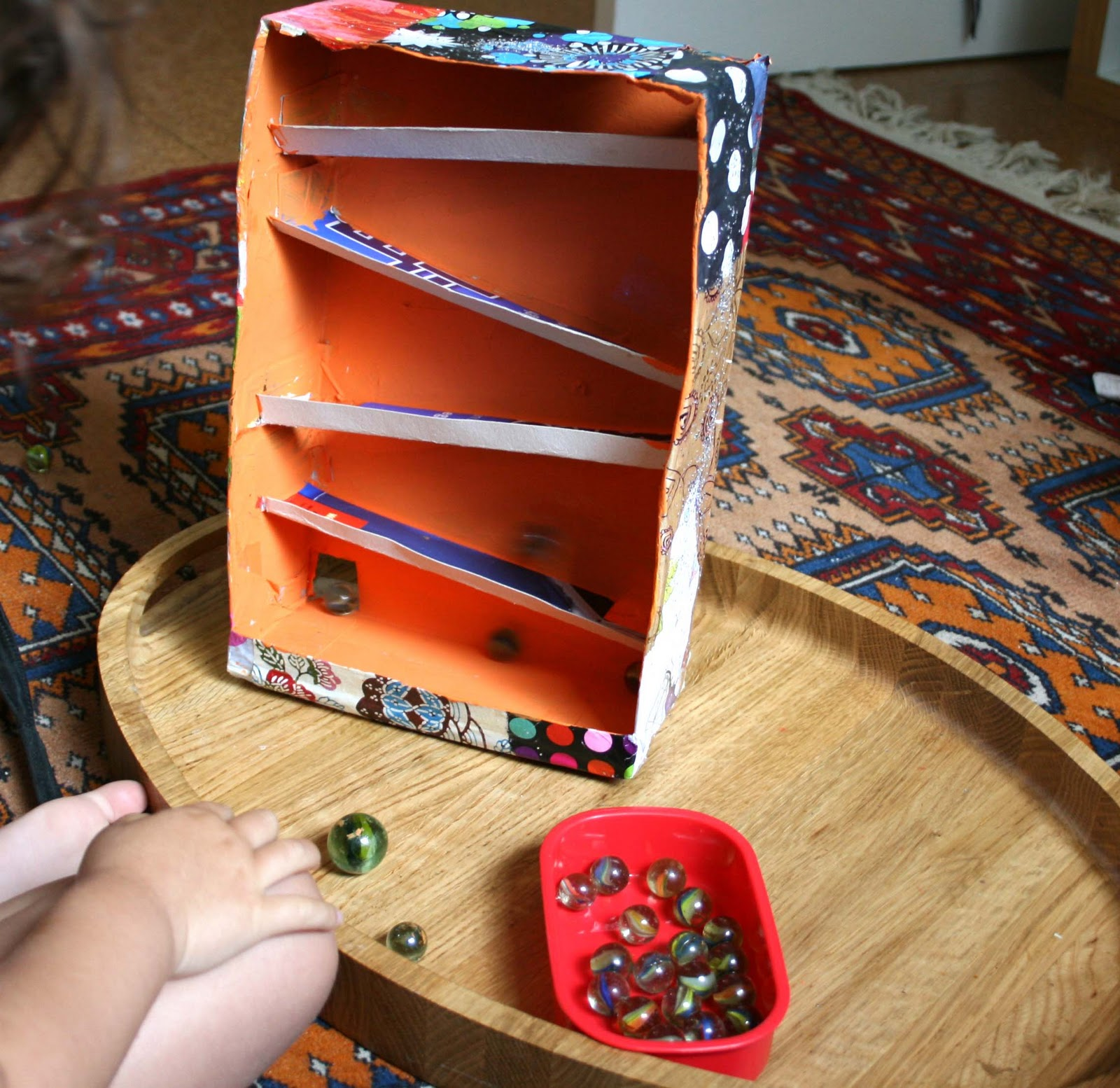a year above the shop: Cereal box marble run