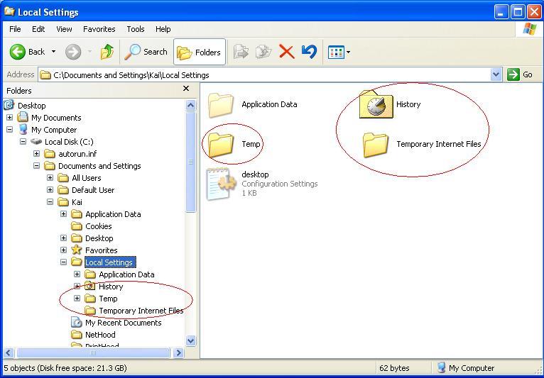 How To Manually delete temporary Internet Files windows xp
