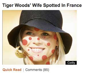 Same woman with red spots all over her face