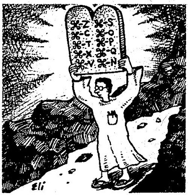 Cartoon of a bespectacled geek descending from a mountain holding a double tablet, a la Moses, except its content is the Mac command key symbol followed by Z, C, Q, etc.