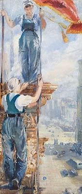 Painting showing one woman standing on a ledge above another