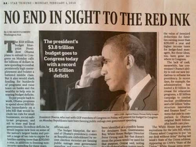 Photo of Obama with hand along his brow as if peering into the distance of shading his eyes from a bright light, with a story whose headline reads No End in Sight to the Red Ink