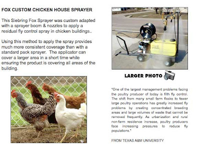 Photo of a yellow tank on wheels with a sprayer, plus some chickens and text