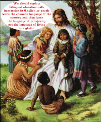 Jesus telling children bilingual education is bad because it it teaches living in the ghetto, not prosperity