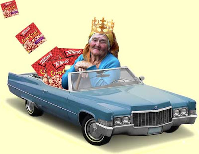 Apple-cheeked grandma woman with a gold crown, riding in a Cadillac stuffed with frozen pizza boxes