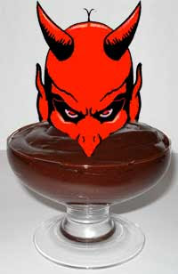 Collage of a red devil's head immersed in a serving of chocolate pudding