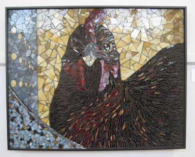 Stain glass mosaic of a dark-feathered chicken