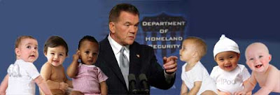 Composite photo of Tom Ridge addressing six babies