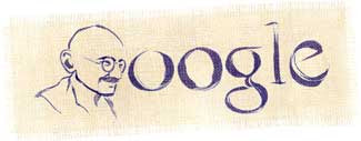 Google's logo changed so the G is an outline of Gandhi's head
