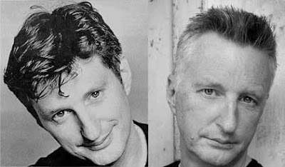 Black and white photos of Billy Bragg 1980s juxtaposed with Billy Bragg late 2000s