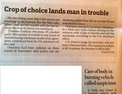 Story with headline, Crop of Choice Lands Man in Trouble