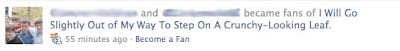 Facebook update, reading Name and Name became fans of I will go slightly out of my way to step on a crunchy leaf