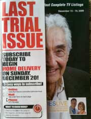 Cover of the Star Tribune's On TV Magazine with half of Howard Zinn's face showing under a LAST TRIAL ISSUE wrapper