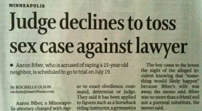 Newspaper clipping with headline Judge Declines to Toss Sex Case Against Lawyer