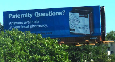 Billboard for a DNA-based paternity test, sold in drugstores