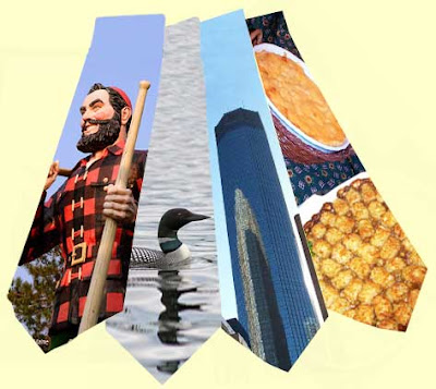 Four ties with Paul Bunyan, a loon, IDS tower and hot dishes on them