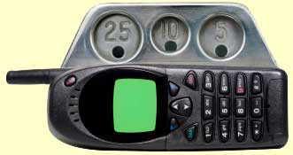 Cell phone with coin slots attached