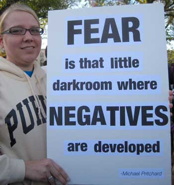 Fear is that little darkroom where negatives are developed - Michael Pritchard, printed laserprinted type pasted to white poster board