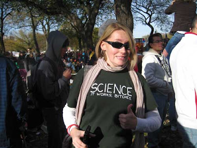 Green t-shirt with white letters, reading SCIENCE It works, bitches