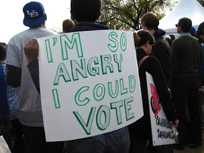 I'm so angry I could vote, black marker on yellow poster board