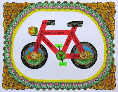 Bike illustration made from stickers
