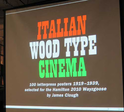 Red, green and white wood type title reading Italian Wood Type Cinema