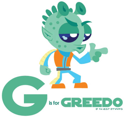 G is for Greedo, Star Wars character as alphabet illustration