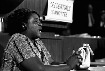 Black and white photo of Fannie Lou Hamer testifying before the credentials committee