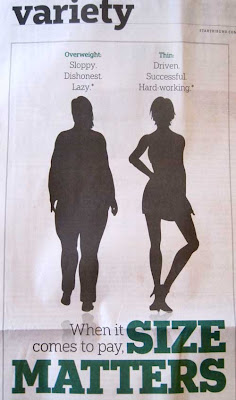 Two women silhouettes with headline SIZE MATTERS and labels above each figure
