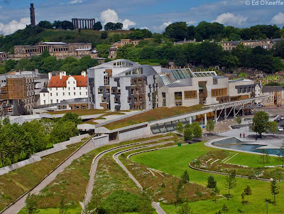 Photo of the Scottish Parliament building, shot from Arthur's Seat