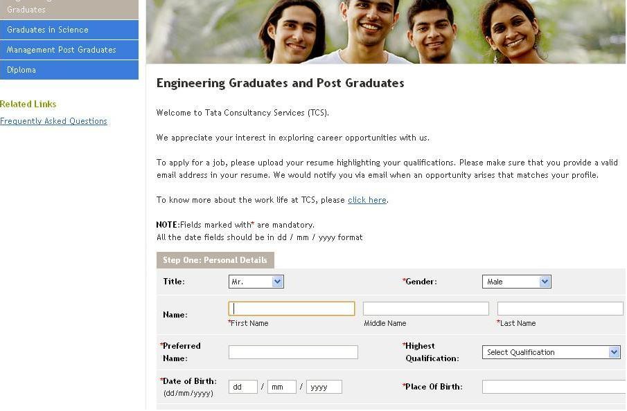 Tcs Employment Application Form Pdf Format Best Resume Samples