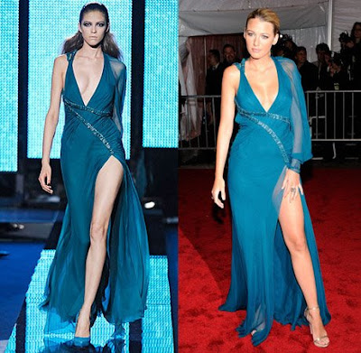 Sultry-look from Blake Lively in Versace Fall 2009 RTW teal blue gown