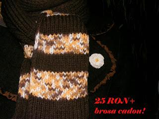 fular maro handmade tricotat manual brosa crosetata aplicata