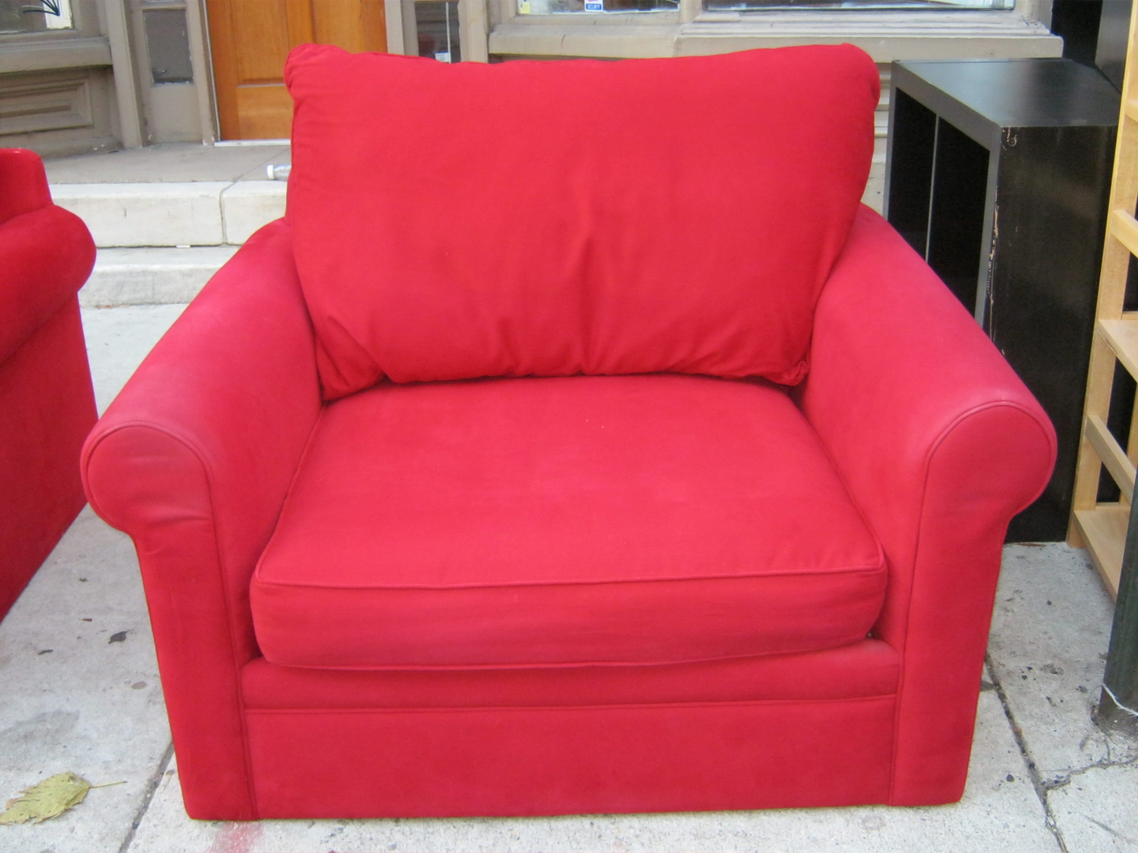 Uhuru Furniture & Collectibles Red Sofa Chair and Ottoman Set SOLD
