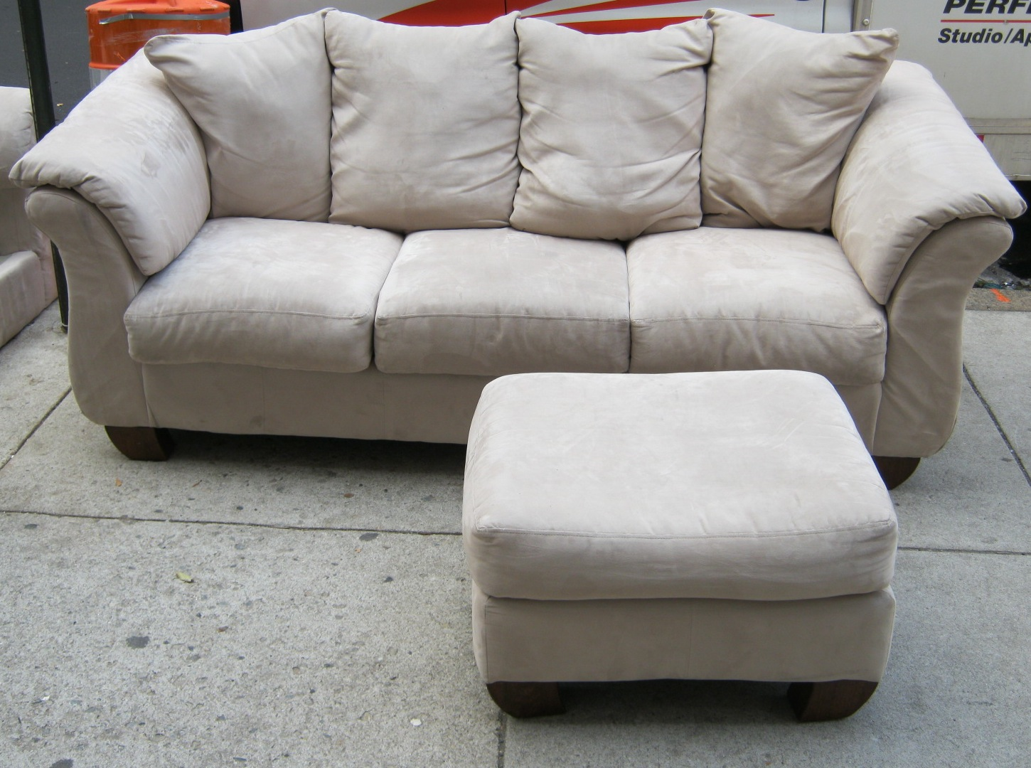 Sectional Sofas Microfiber Upholstered Chesterfield Sofa Beige W 2