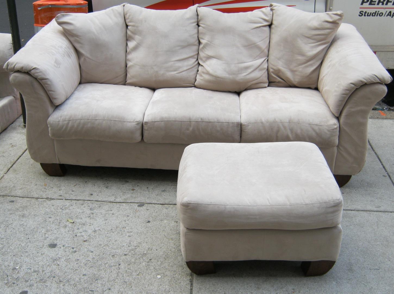 Beige Microfiber Couch Ottoman Sold Soloshrinks