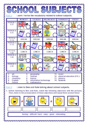 frenchfrog 39 s little english pond school subjects powerpoint worksheet. Black Bedroom Furniture Sets. Home Design Ideas