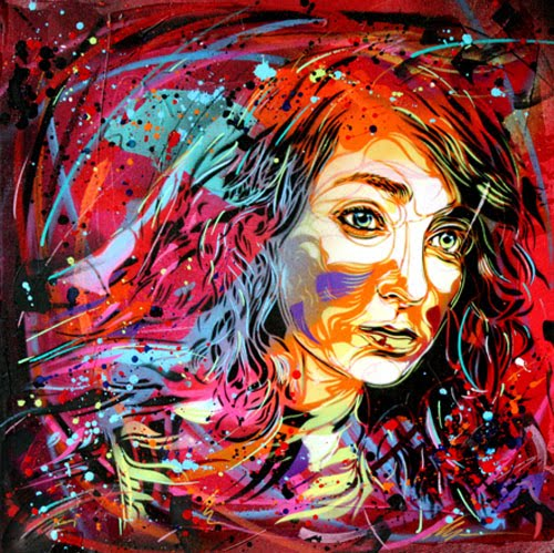 Penelope Graffiti Spray Paint On Canvas by C215